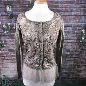 A'reve Women's Lace And Sequins Teupe Top Size M